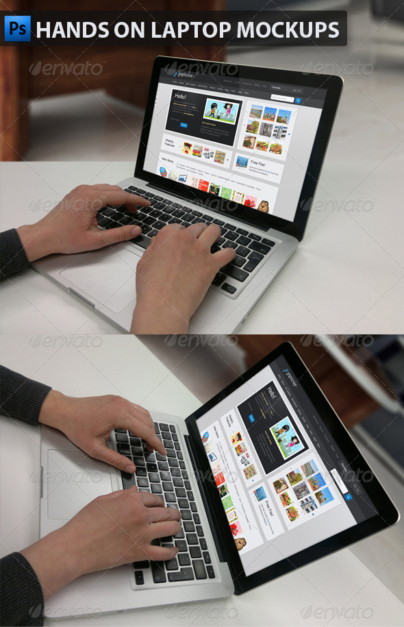 Hands on Laptop Mockups - Product Mock-Ups Graphics