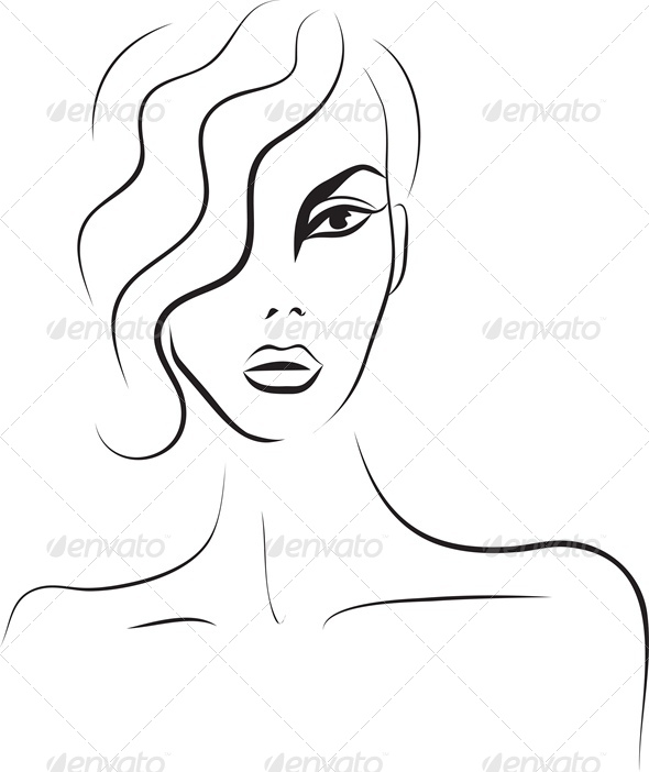 GraphicRiver Beautiful Woman Face Fashion Sketch 4245808