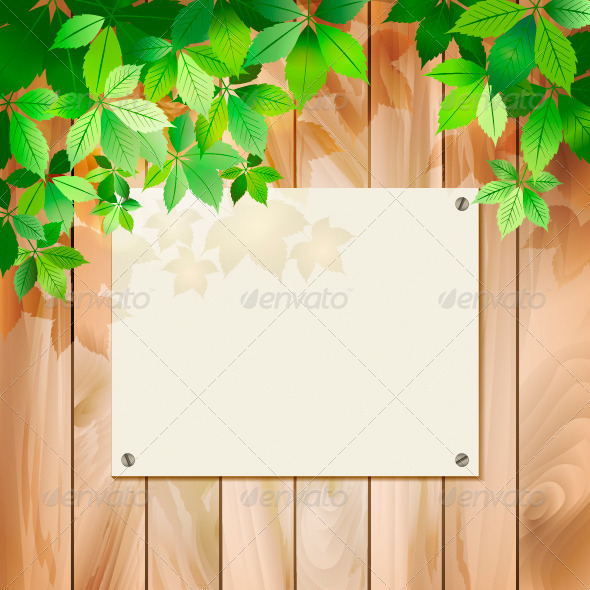 GraphicRiver Green Leaves on a Wood Texture Vector Background 4245816