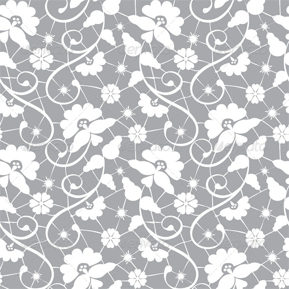 GraphicRiver Seamless Lace Pattern on Grey Background 4245843
