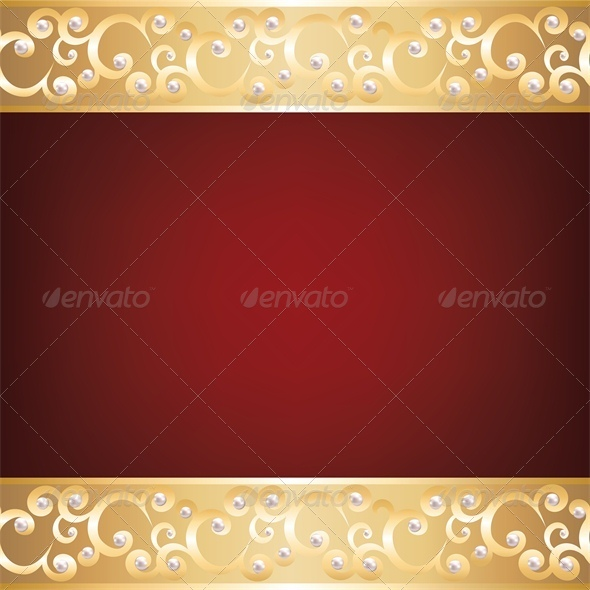 GraphicRiver Background with Gold Jewelry Frame and Pearls 4245903