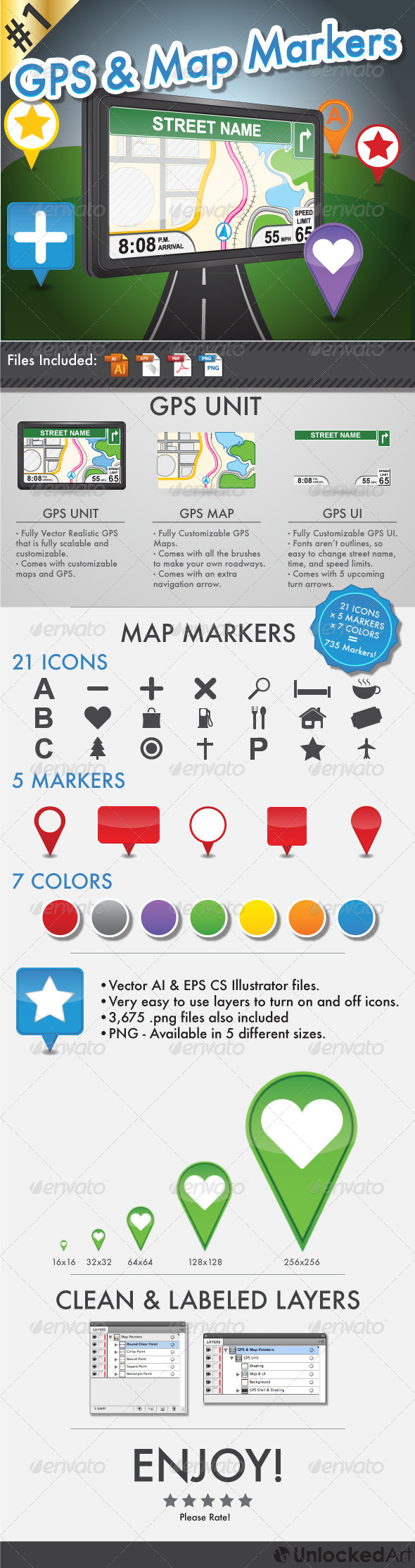 GPS and Map Markers - Objects Vectors