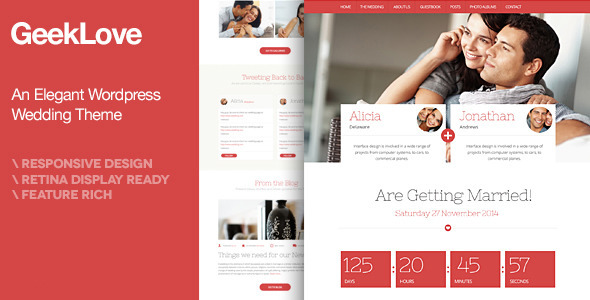 GeekLove - A Responsive Wordpress Wedding Theme - Events Entertainment
