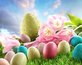 Easter eggs with tulips in the grass - PhotoDune Item for Sale