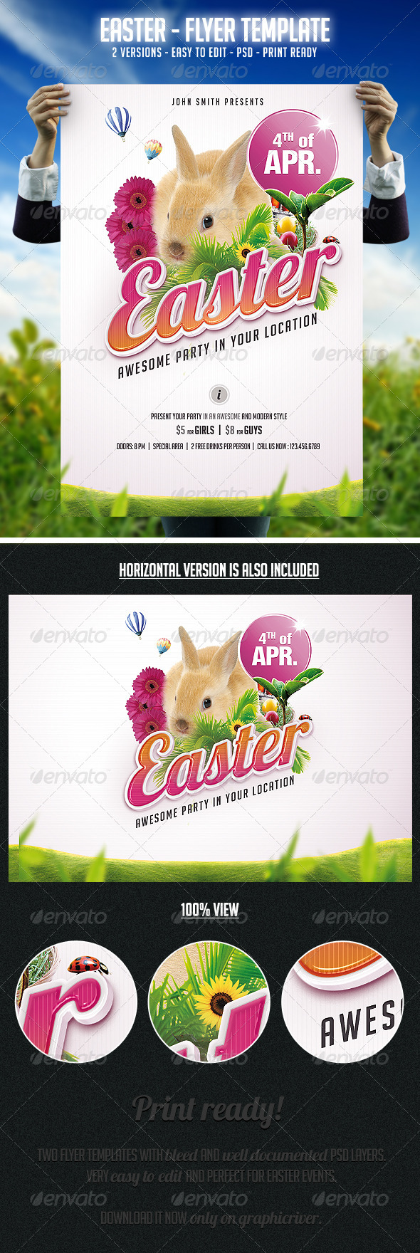 GraphicRiver Easter Flyer Template 4063463