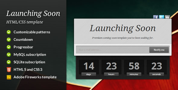 ThemeForest Launching Soon Premium Coming Soon Template 460561