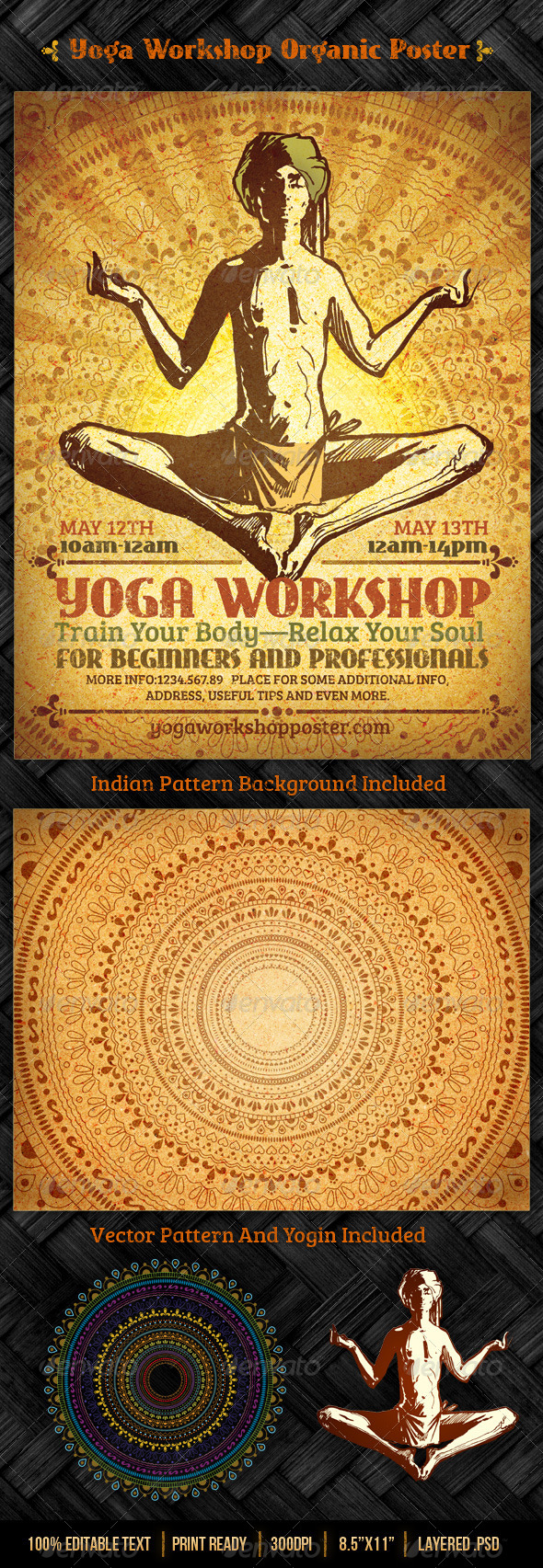 GraphicRiver Yoga Workshop Organic Poster Template 4251383