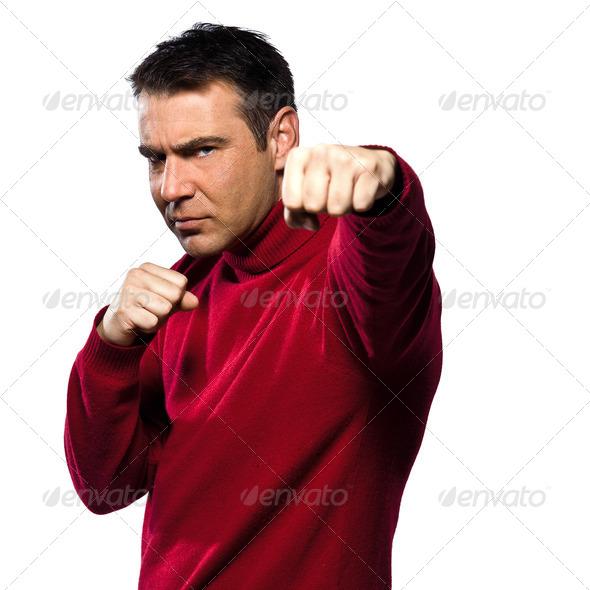 PhotoDune caucasian man portrait boxing gesture 4254823