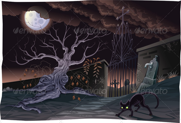 Black cat and cemetery in the night. - Animals Characters