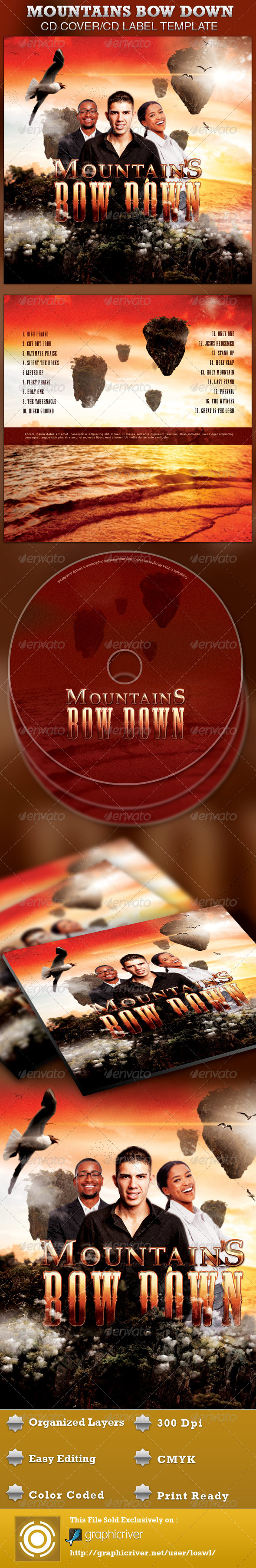 Mountains Bow Down CD Artwork Template - CD & DVD artwork Print Templates