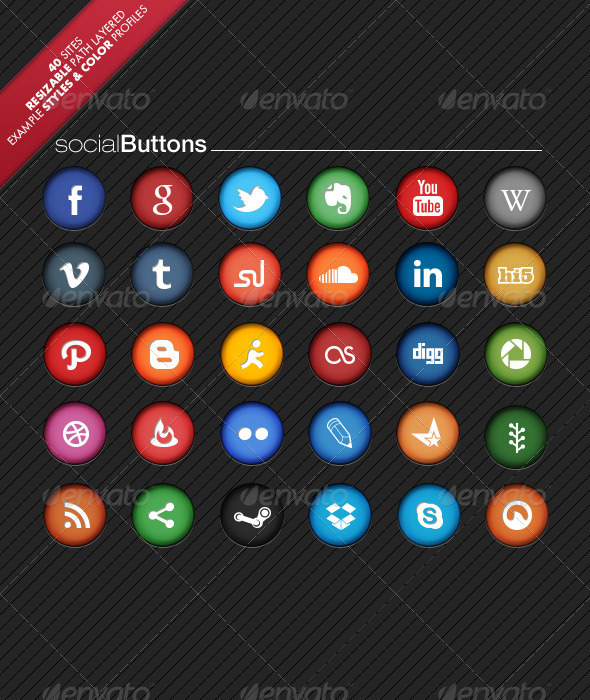 GraphicRiver Colorful Social Network Buttons 4255404