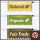 Natural, Organic, & Fair Trade Vector Label Folds - GraphicRiver Item for Sale