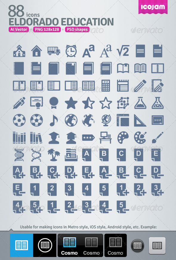 GraphicRiver 88 AI and PSD Education strict Icons 4256983
