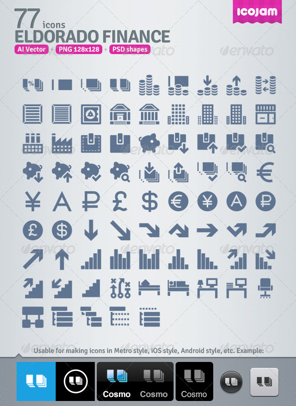 GraphicRiver 77 AI and PSD Finance strict Icons 4257133