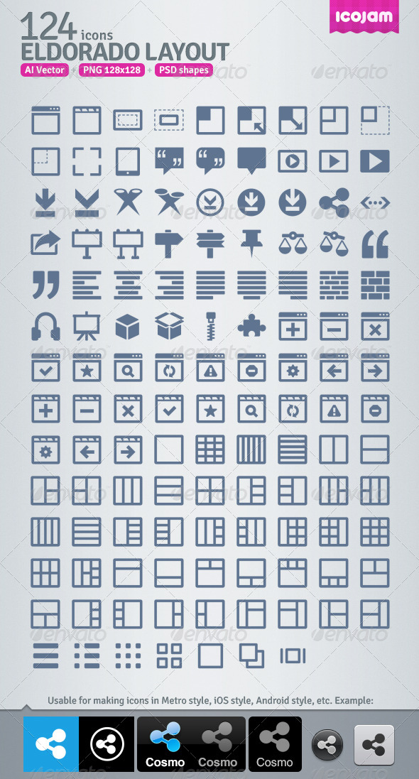 124 AI and PSD Layout strict Icons  - Web Icons