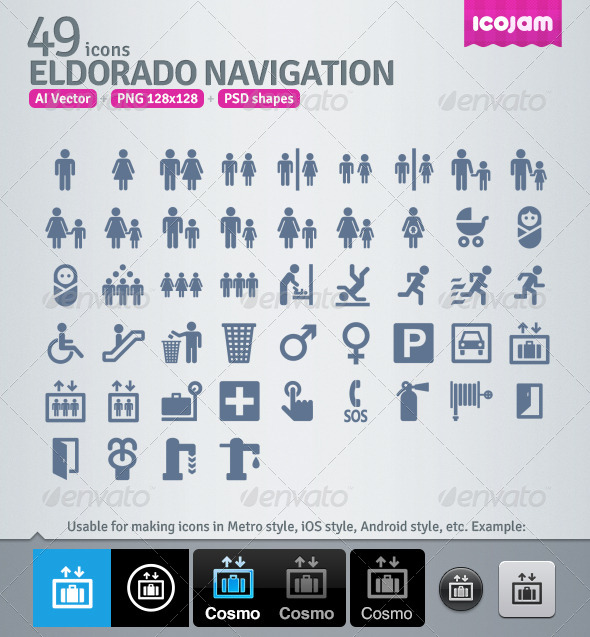 49 AI and PSD Navigation strict Icons  - People Characters