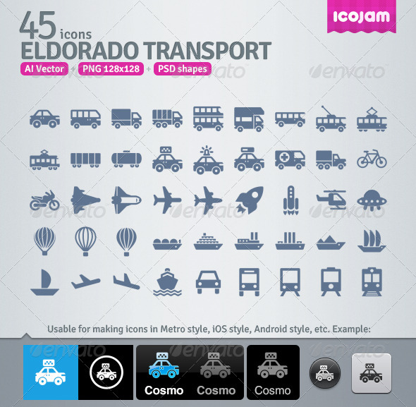 45 AI and PSD Transport strict Icons - Technology Icons