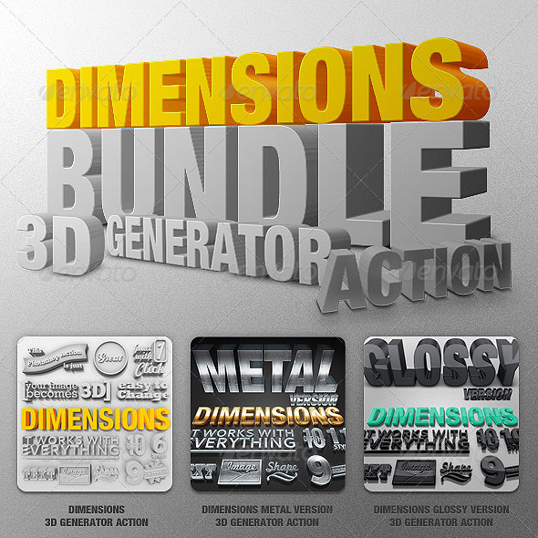 Bundle - Dimensions - 3D Generator Action - Text Effects Actions