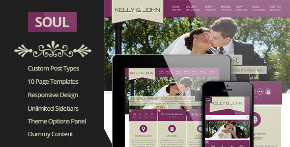 ThemeForest Soul Responsive WordPress Wedding Theme 4219964