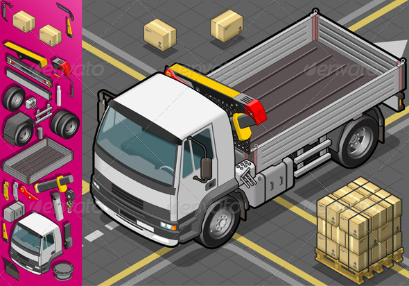 GraphicRiver Isometric Container Truck in Front View 4261741