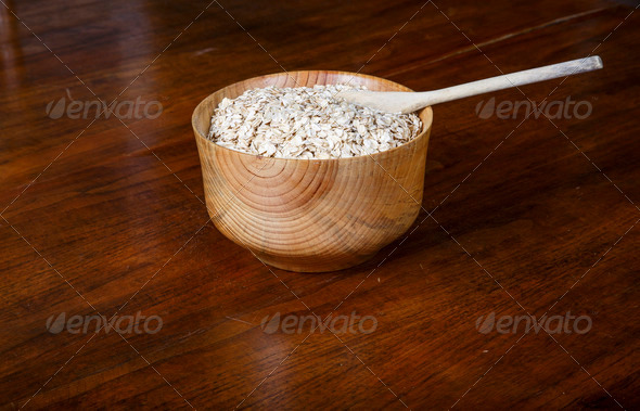PhotoDune Bowl of Dry Oatmeal with Spoon 4264049