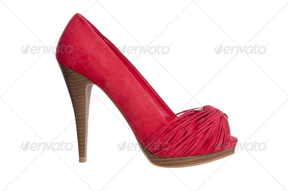 Red high heel women shoe - Stock Photo - Images
