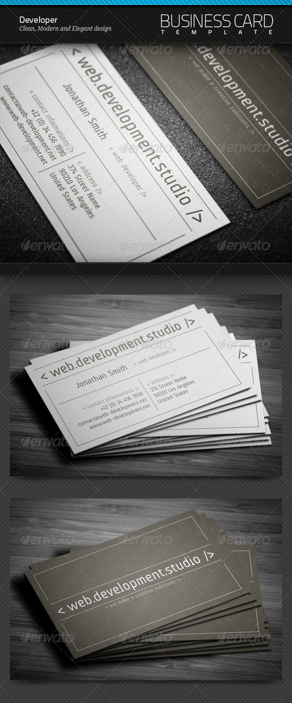 GraphicRiver Developer Business Card 4266255