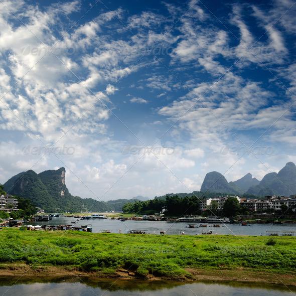 PhotoDune Bamboo raft at the Ulong river near Yangshuo 4266579