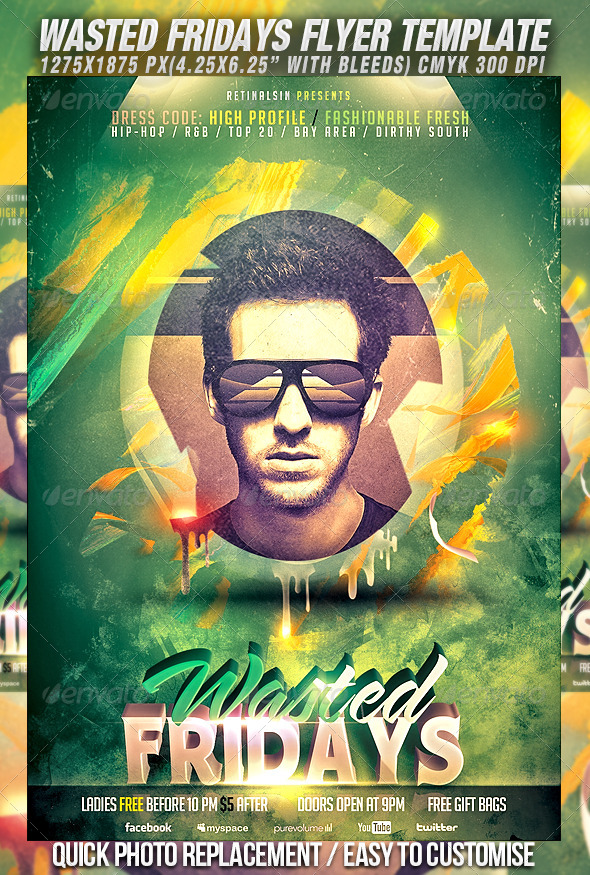 Wasted Fridays Flyer Template - Clubs & Parties Events