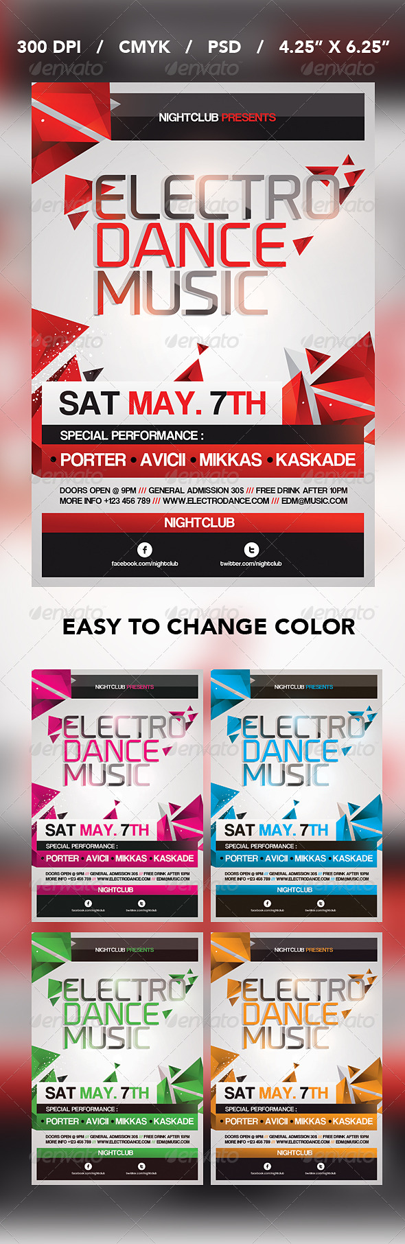 GraphicRiver Electro Dance Music Flyer 4267662