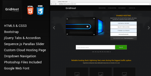 ThemeForest GridHost Hosting Theme 4269785