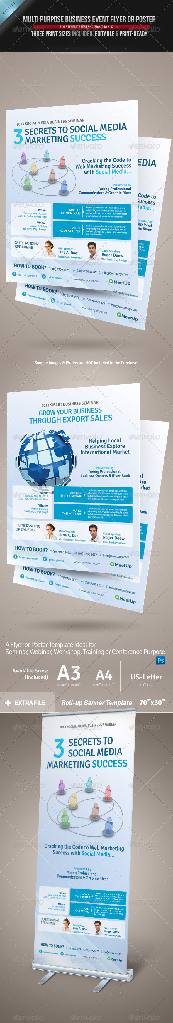 Multi Purpose Business Event Flyer or Poster - Corporate Flyers