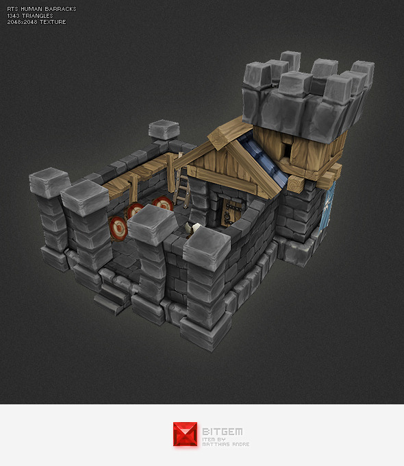 Low Poly RTS Human Barracks - 3DOcean Item for Sale