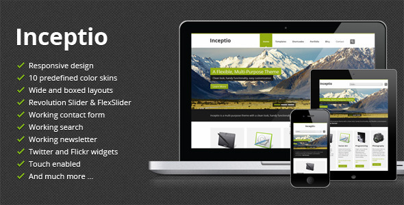ThemeForest Inceptio Responsive Multi-Purpose HTML Template 4213432