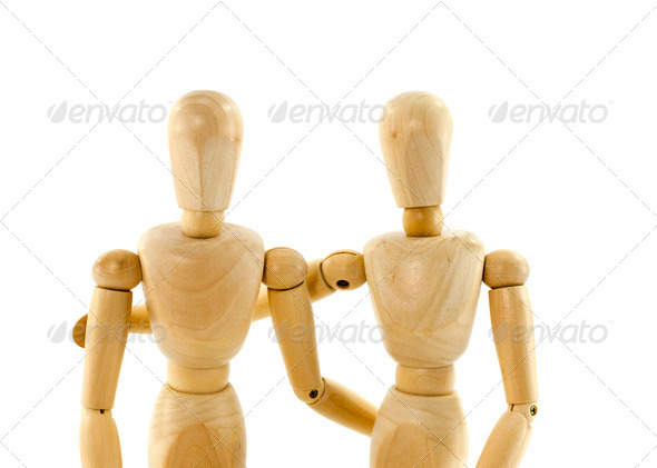 PhotoDune two puppet from wood couple 4273390