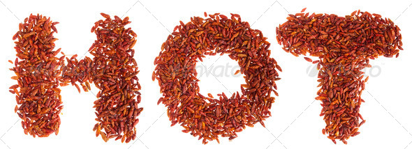 Hot written with peppers - Stock Photo - Images