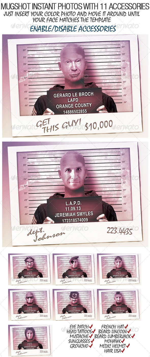 Mugshot photo Generator, CMYK, 300dpi - Miscellaneous Print Templates