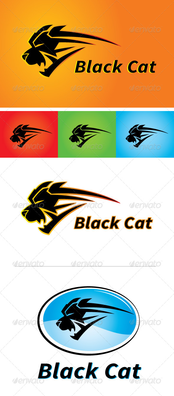 GraphicRiver Black Cat Sports Apparel Logo 4163165
