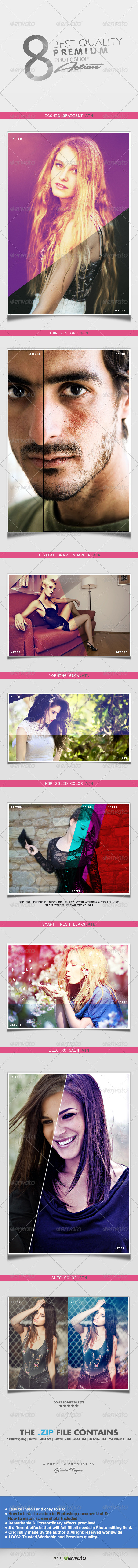 8 Best Quality Premium Photoshop Action - Photo Effects Actions
