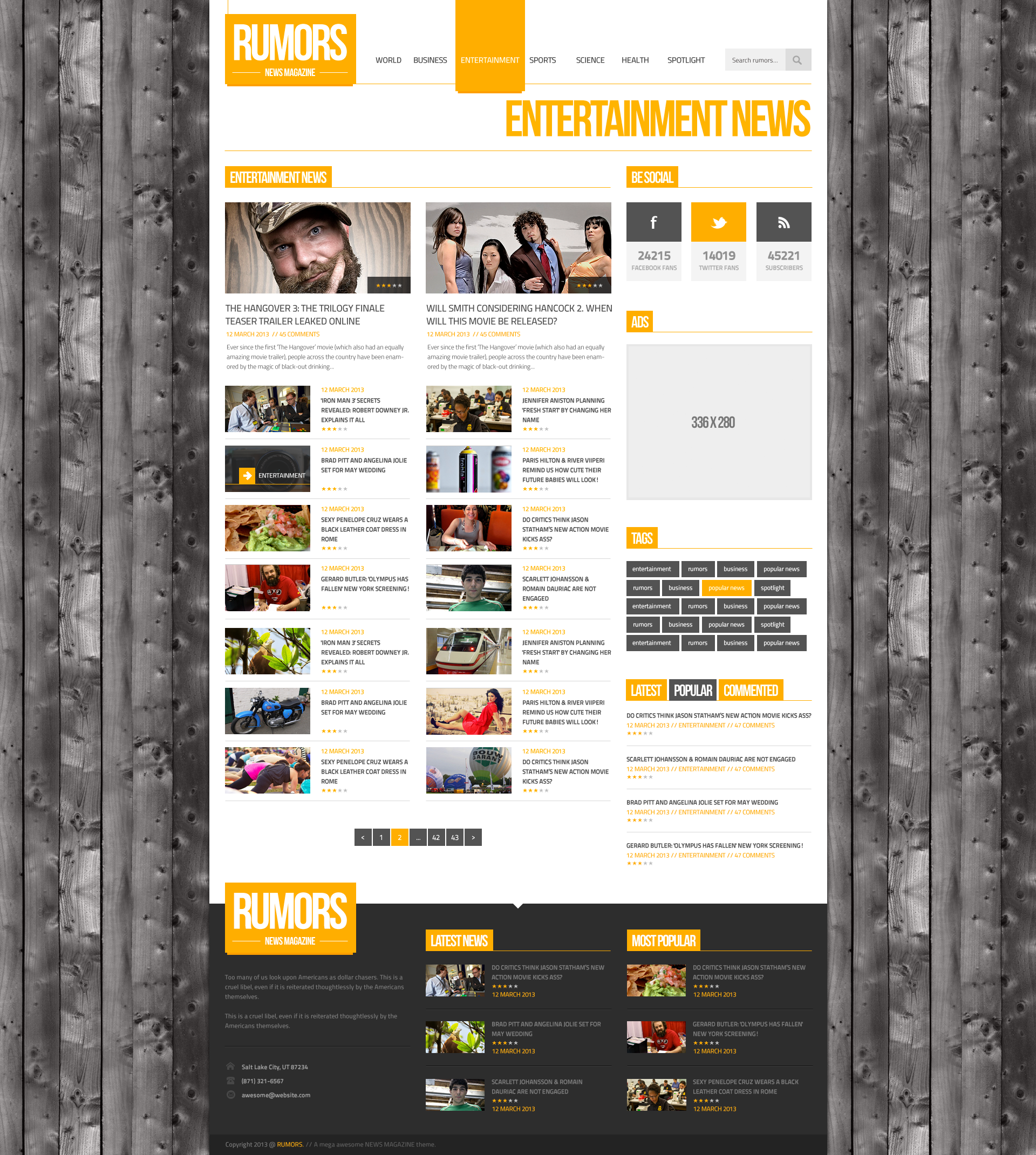Rumors - News / Magazine  PSD Template