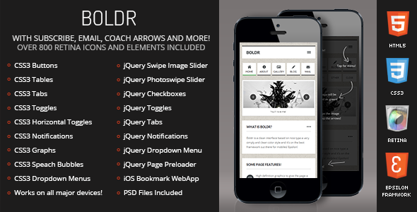 Boldr Mobile Retina | HTML5 & CSS3 And iWebApp - Mobile Site Templates