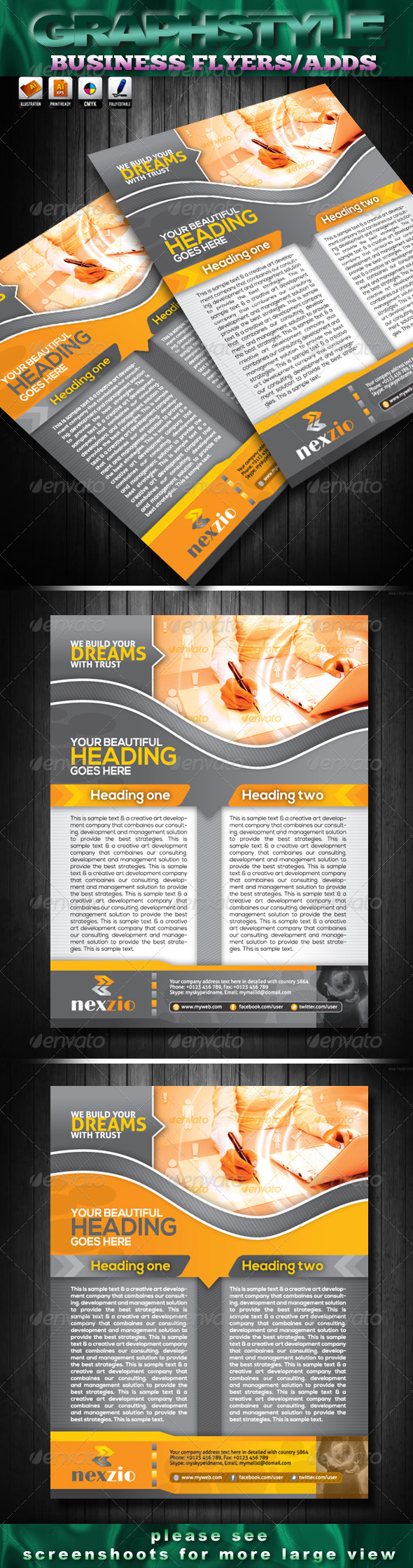 GraphicRiver nexzio Business Flyers Adds 4044098