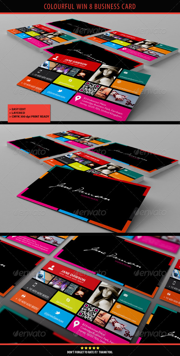 GraphicRiver Colourful Win 8 Business Card 4277877