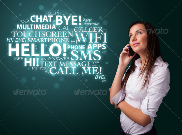 PhotoDune Young girl calling by phone with word cloud 4278495