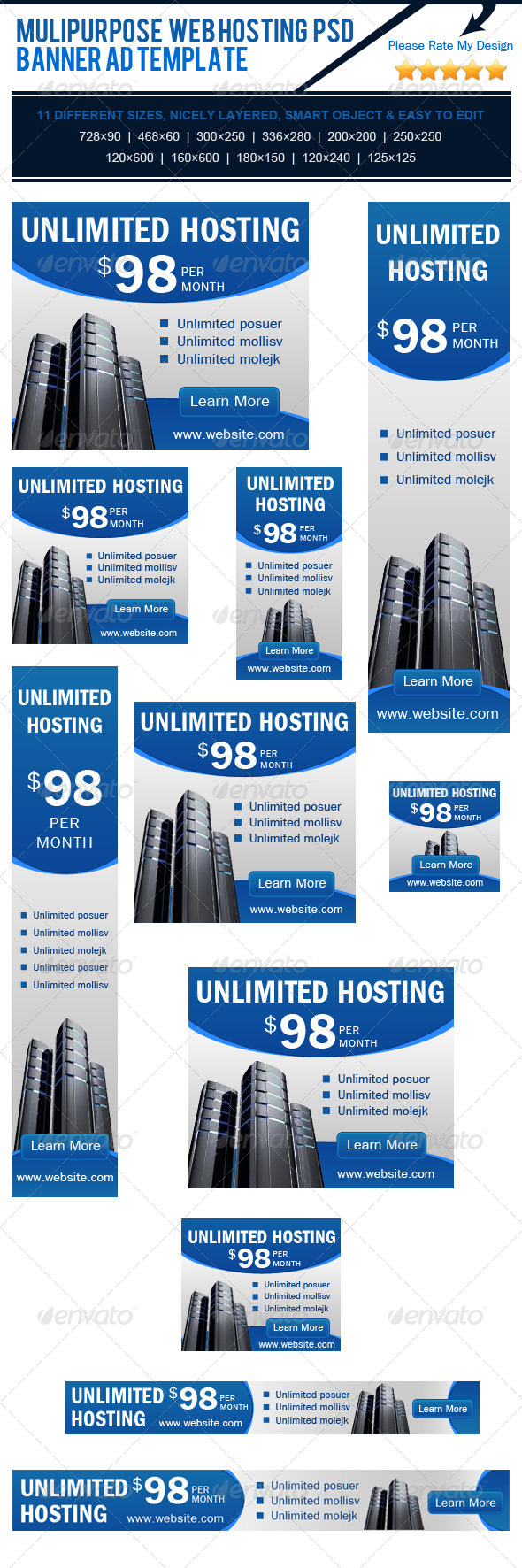 GraphicRiver Multipurpose Web Hosting PSD Banner Ad Template 4183819