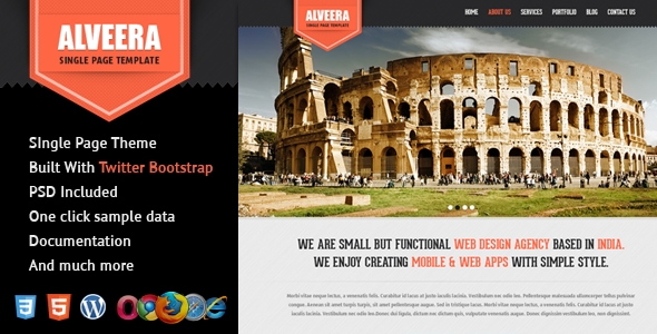 ThemeForest Alveera Responsive HTML5 Single Page Wordpress 4239200