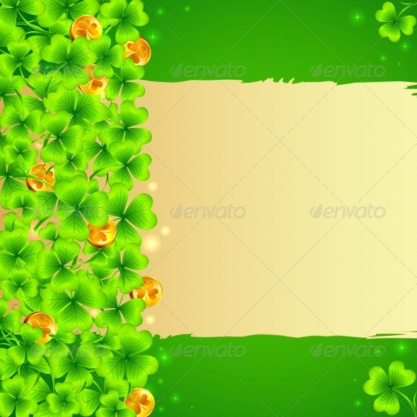 GraphicRiver Green Clovers Background with Golden Coins 4281533