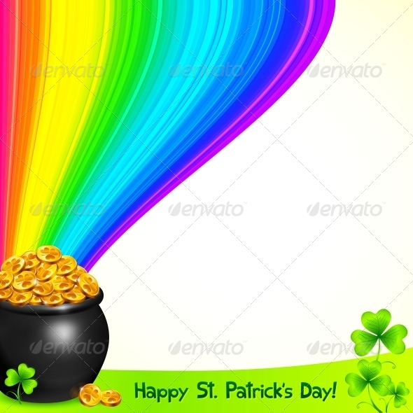 GraphicRiver Magic Pot with Gold under the Rainbow 4281552