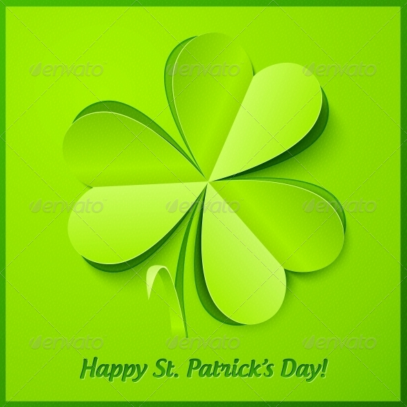 GraphicRiver Green Paper Clover Patrick s Day Greeting Card 4281586