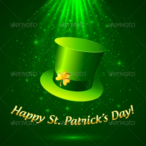 GraphicRiver Green Patrick s Leprechaun Hat with Golden Clover 4281589